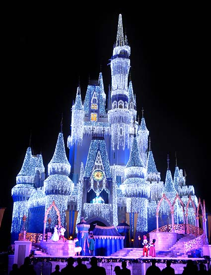 castle, christmas, cinderella, disney