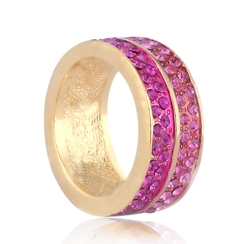 double rows pave ring, fuchsia ring, rose ring, micro pave ring