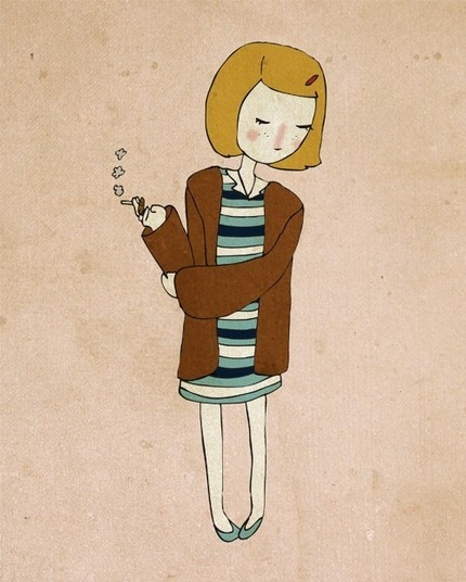 drawing, girl, margot tenenbaum, smoke, the royal tenenbaums
