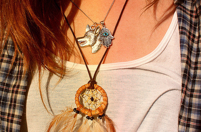 dream catcher, eye, flannel, jewelry, laid