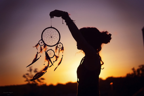 dreamcatcher, girl, nature, sunlit, feathers