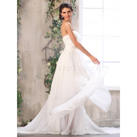 dreamy elegant chiffon strapless ivory chapel train sheath column wedding dress
