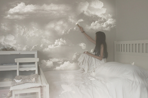 dreamy, girl, bed, clouds, girly