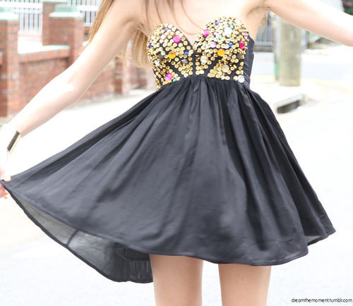 dress, black, sparkle