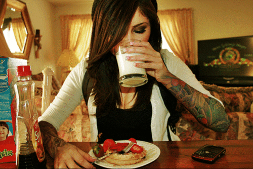 eating, food, girl, milk, tattoo