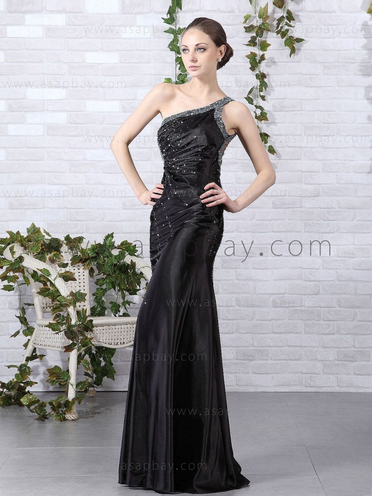 elastic satin beading attractive exquisite elegant one shoulder floor length black a line evening dress