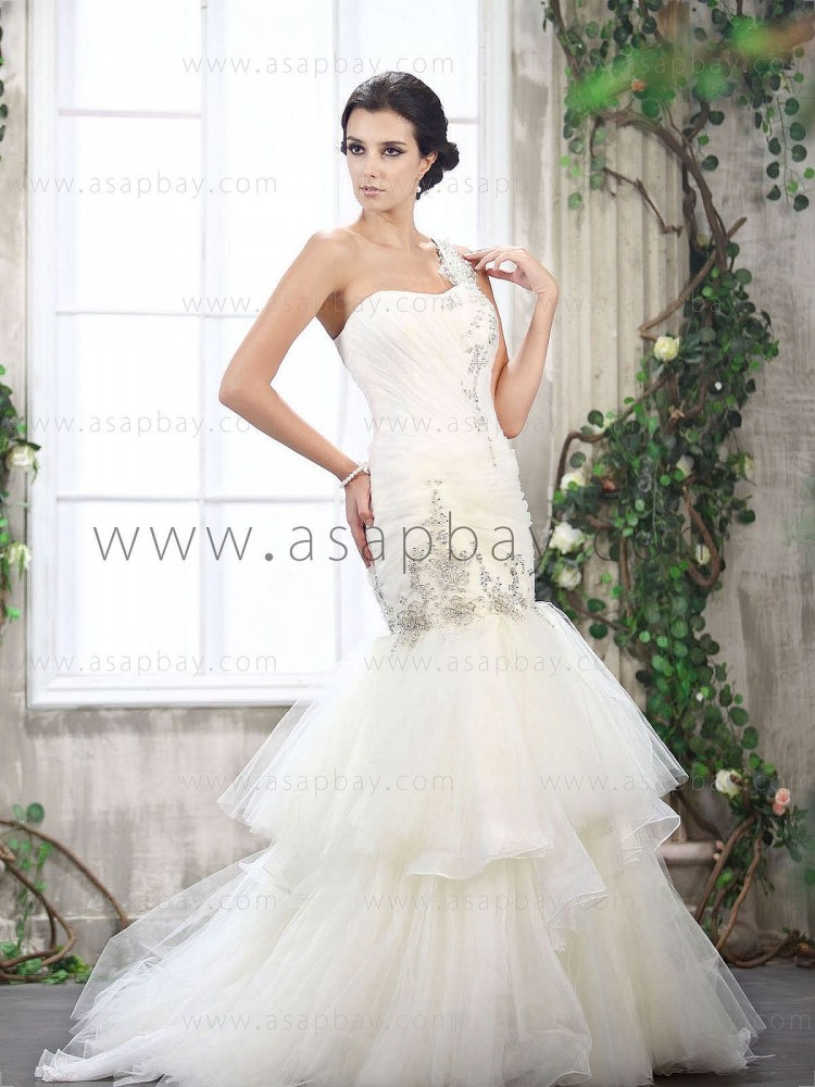 elegant beading ruched one shoulder court train ivory sheath/column wedding dress