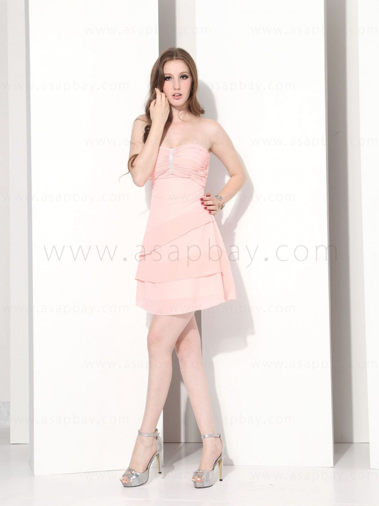 elegant beautiful ruched chiffon strapless knee length cocktail dress