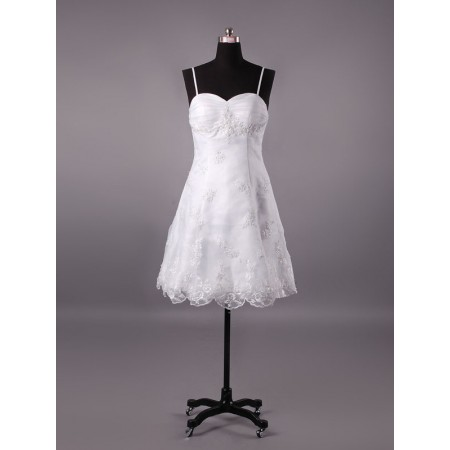 elegant lace a line spaghetti strap short white wedding dress