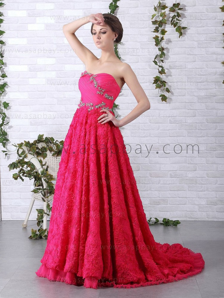 elegant luxury ruched crystal red floor length sweetheart a line tulle evening dress