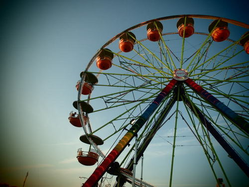 big, circle, colorful, fair, ferris, ferris wheel, fun, ride, scary, turn, wheel