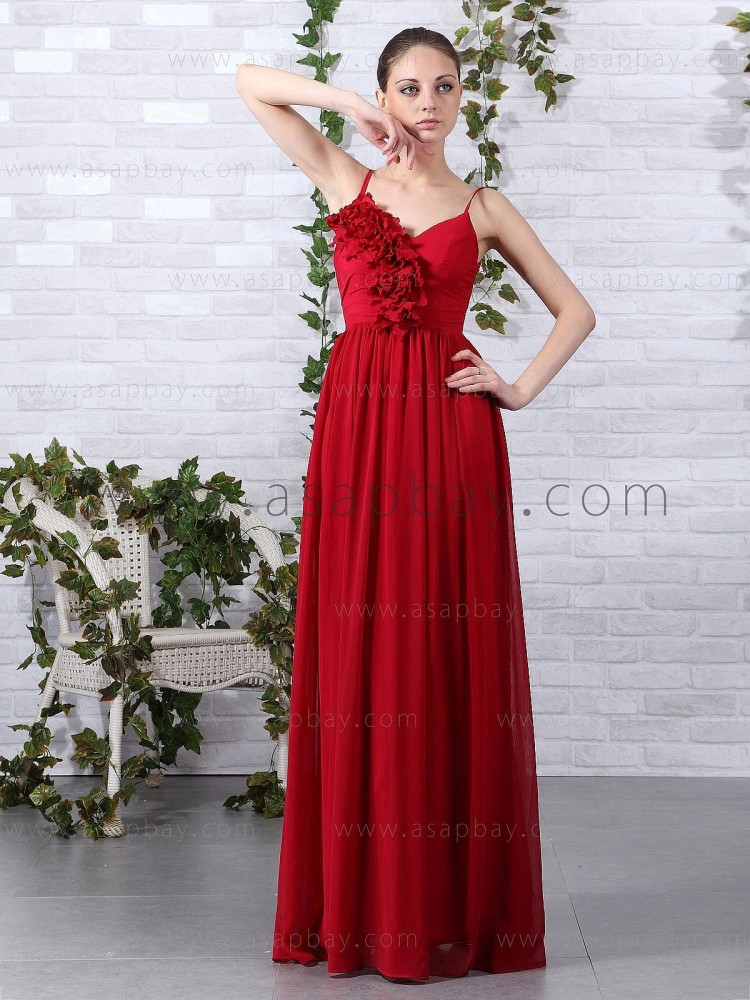 fantasy gorgeous elegant chiffon spaghetti strap floor length red a line evening dress