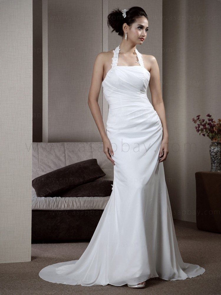 fantasy gorgeous elegant draped chiffon white court train halter sheath/column wedding dress