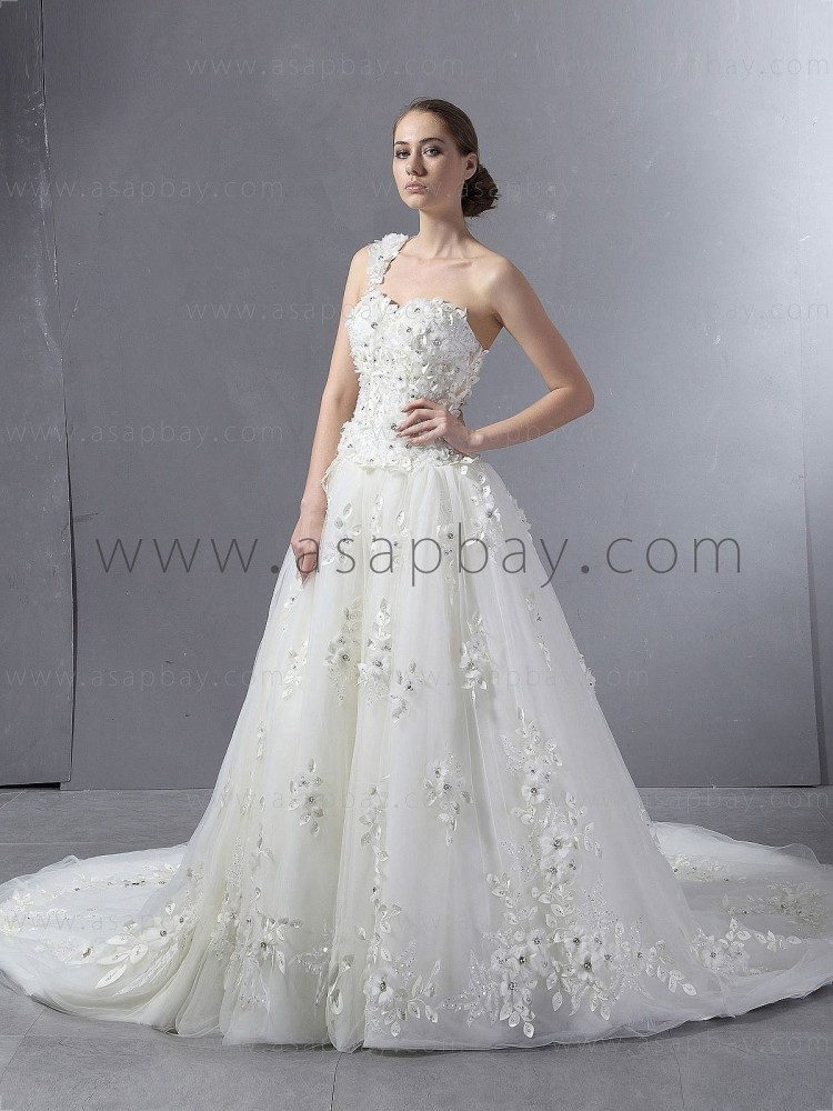 fantasy luxury gorgeous amazing asapbay tulle ivory one shoulder chapel train ball gown wedding dress