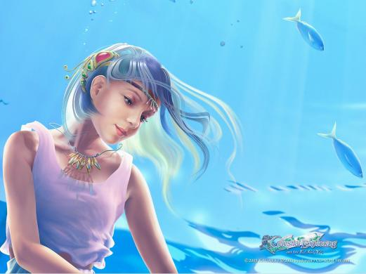 a girl, a mermaid, fantasy, reverie