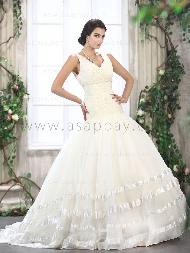 fantasy tulle glamorous tiered ruched bodice beading court train v-neck ball gown wedding dress