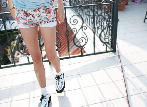 fashion, flowers, pretty, shoes, shorts