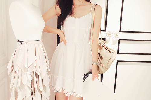 fashion, kfashion, white, dress, casual