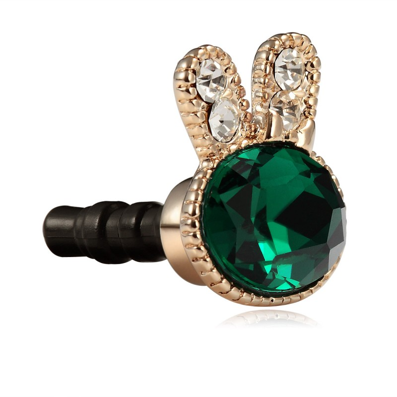 fashion rabbit earphone plug charm, emerald gemstone earphone dustproof plug charm, emerald and rhinestone earphone anti-dust plug charm