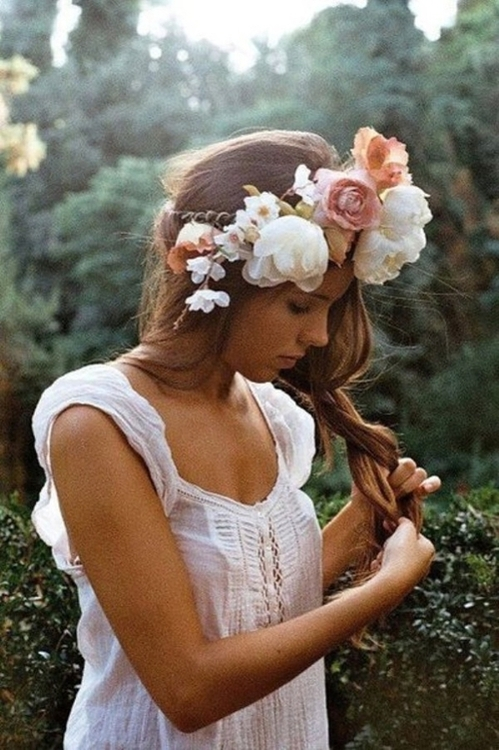 favim, girl, boho, nature, flowers
