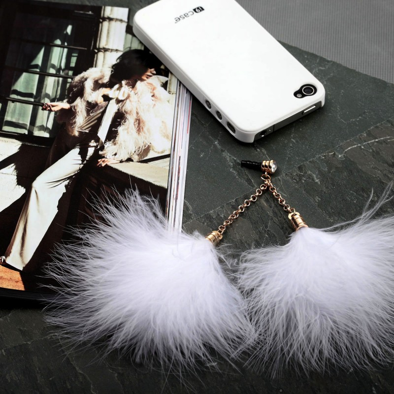 feather 3.5mm headphone dust proof plug, feather 3.5mm earphone jack dust plug, feather chains  3.5mm head  phone dust proof plug, feather chains 3.5mm earphone jack dust plug, 3.5mm earphone dust plug