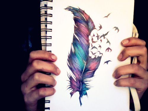 berd, feather, paint