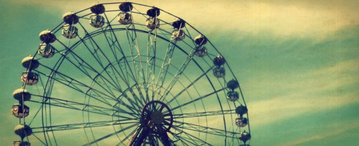 ferris wheel, fun, amusement park, clouds, people
