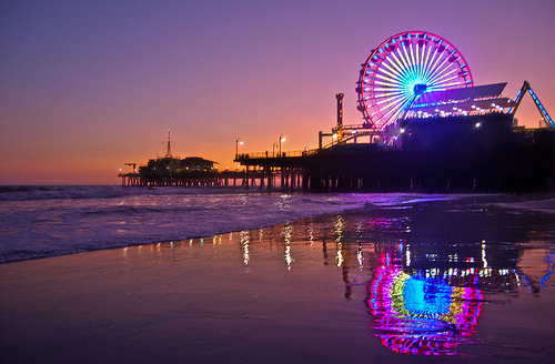 ferris wheel, lights, beach, fair, cute