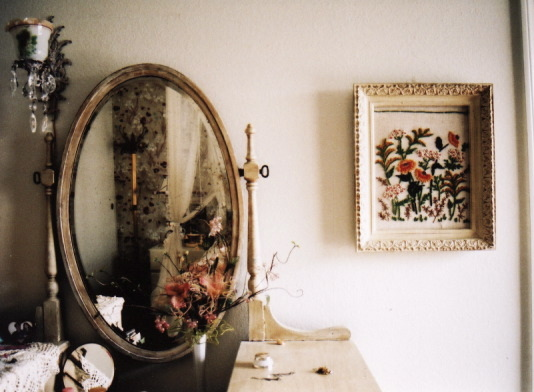 floral, flowers, mirror, shabby chic, vintage