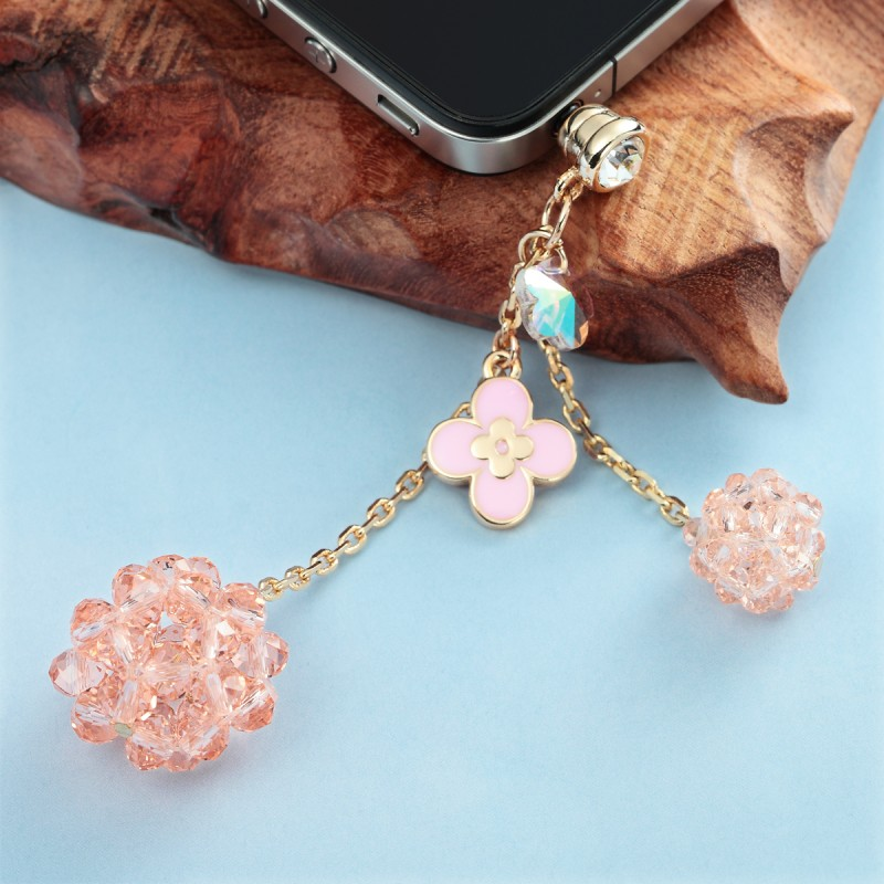 flower crystal ball 3.5mm headphone dust plug pink