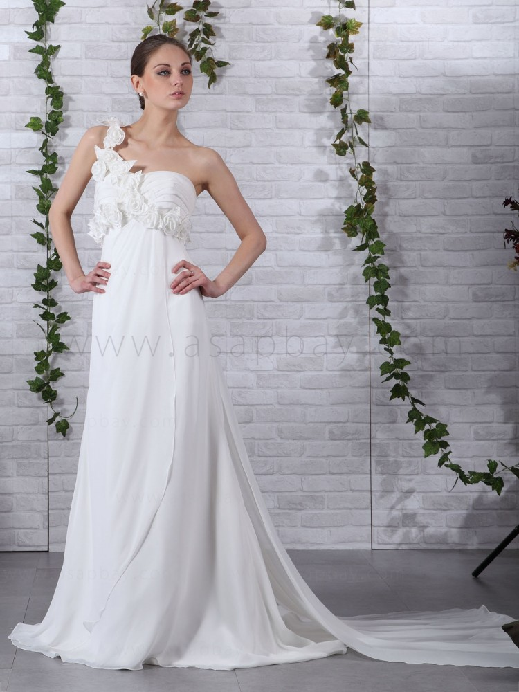flower gorgeous asapbay ivory chiffon sheath/column one shoulder court train wedding dress