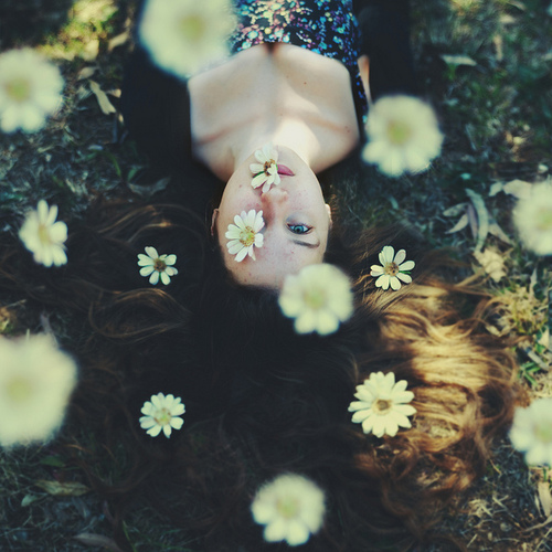 flowers, girl, meadow, summer, tumblr