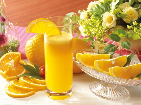 flowers, juice, nature, orange