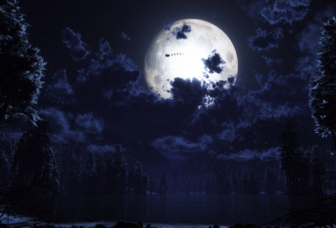 forest, santa, the moon