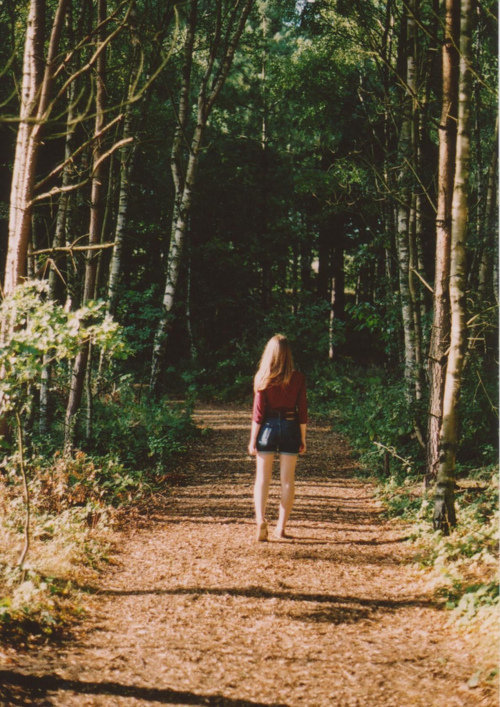forest, trees, nature, girl, alone
