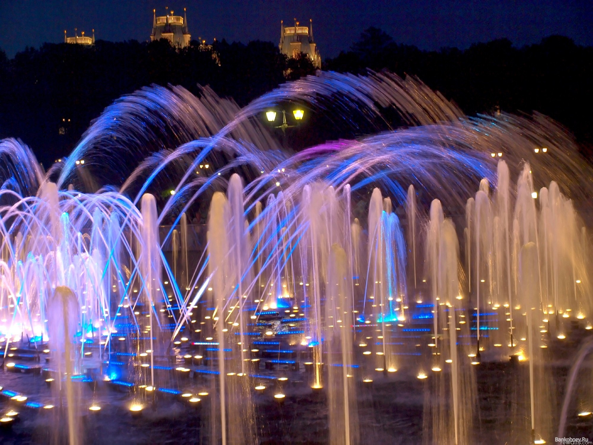 fountains, light, water, night