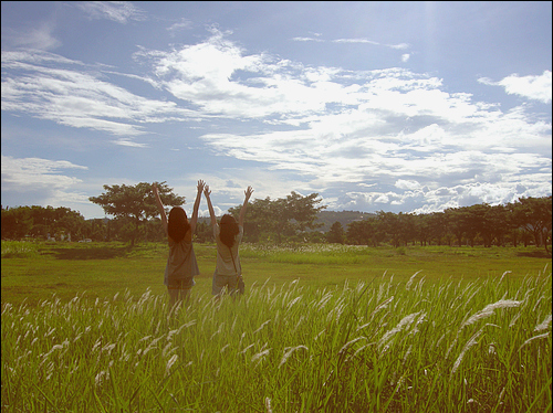 friend, girl, grass, happy, sky