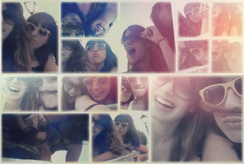collage, colorful, friends, glasses, laugh, orange, smile