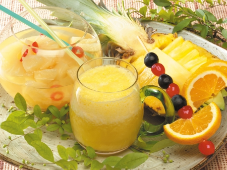 fruits, juice, pineapple, salad