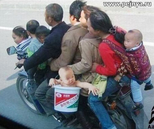 funny, chinese, people, motocicle, baby