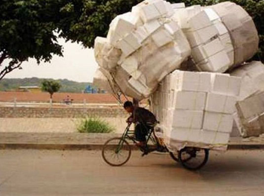 baggage, bycicle, funny, man