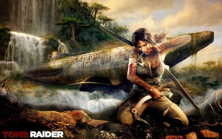 games, lara croft, submarin