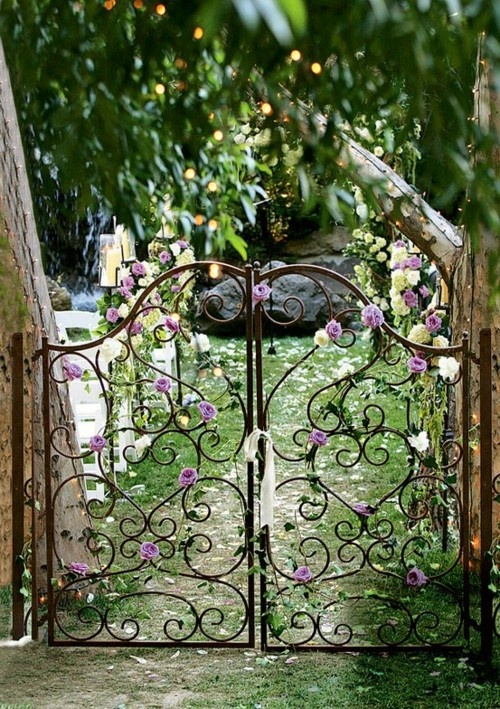 gate, nature, paradise, green, wrought iron
