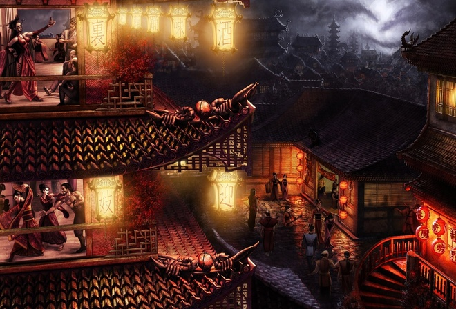 geisha, a brothel, a tavern