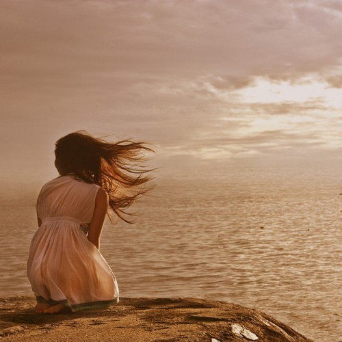 alone, blown, dress, girl, ocean, summer, surf, wind