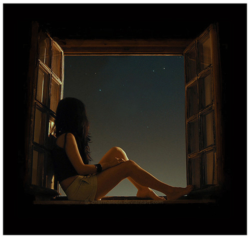 girl, alone, stars, wish, night