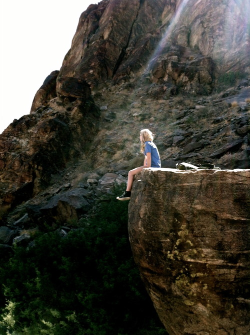 girl, blonde, cliff, nature, alone