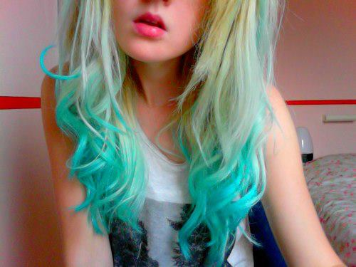 girl, blue, blonde, hair