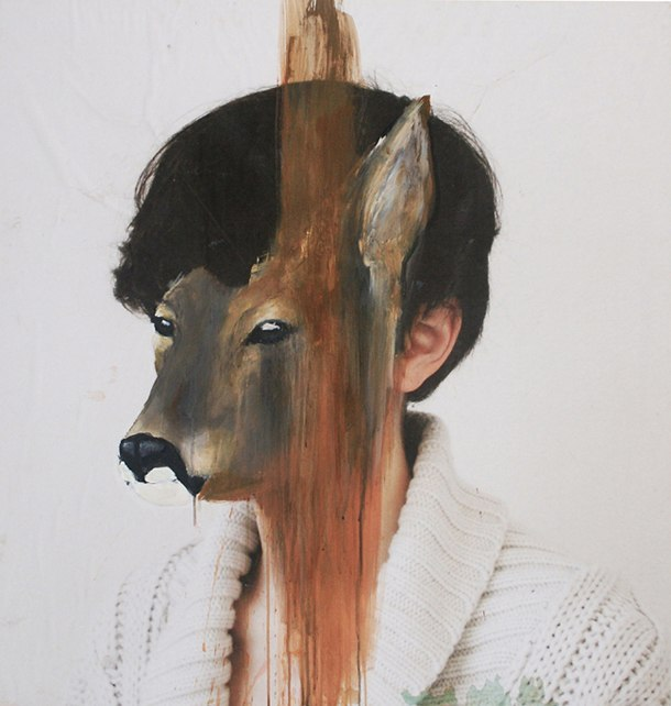 girl, deer, paint