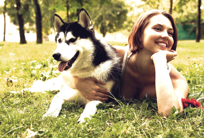 girl, dog, grass, smiling